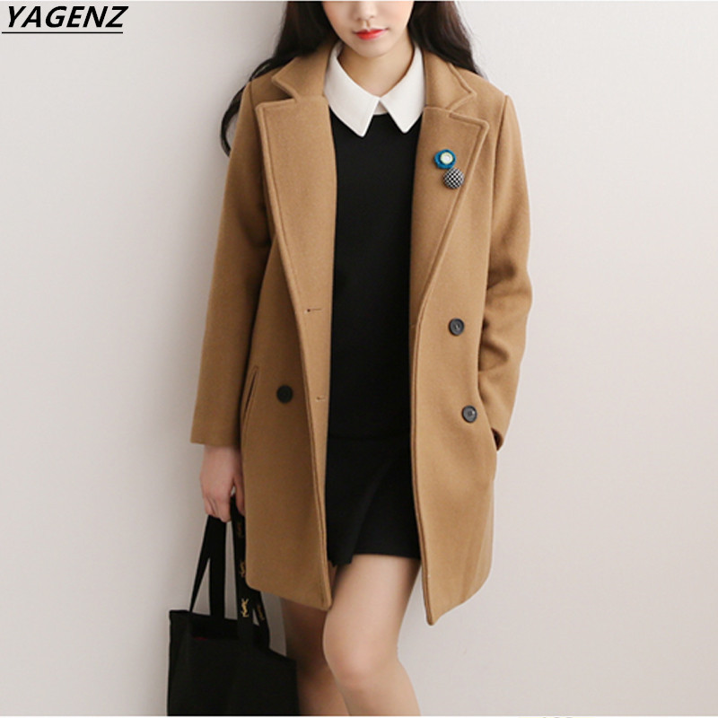 2017 Women Winter Jacket Long Wool Coat Ladies Slim Suit Collar Soild Double-breasted Cozy Casual Tops Fashion Coat YAGENZ A136 2016 new fashion fur collar women coat sexy ladies wool sweater double breasted thick skirt cotton dress 3 colors size s 2xl page 4 page 5 page