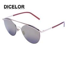 DICELOR Lentes de Ojo de Gato Marca Capa de Espejo Plano 2017 Moda de La Calle Mujeres Del Marco Del Metal gafas de Sol de Doble vigas gafas de sol mujer