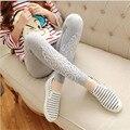 2016 Nova Moda Oco Leggings de algodão Modal Elastic Lady Laço Do Estiramento das Mulheres Calças Cortadas Calças oito cores Leggins