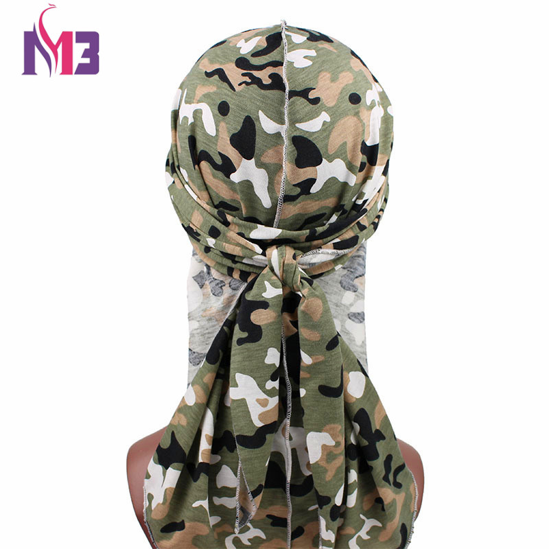 Fashion Camouflage Print Men 39 s Durags Turban Bandanas Stitching Outside Men Durag Headwear Headband Pirate Hat Hair Accessories in Men 39 s Headbands from Apparel Accessories