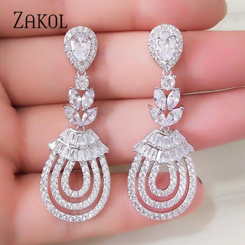 ZAKOL Luxury Leaf Dangle Drop Earrings For Women Fashion Water Drop Cubic Zirconia Earrings Wedding Jewelry FSEP242 vintage leaf water drop earrings