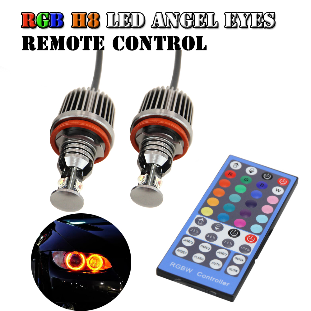 2pcs RGB 36W E92 H8 Angel Eyes with Controller Led Marker for BMW 63/E64/E92/E93/E82/E90/X5/X6/F01/F02 dmx512 digital display 24ch dmx address controller dc5v 24v each ch max 3a 8 groups rgb controller