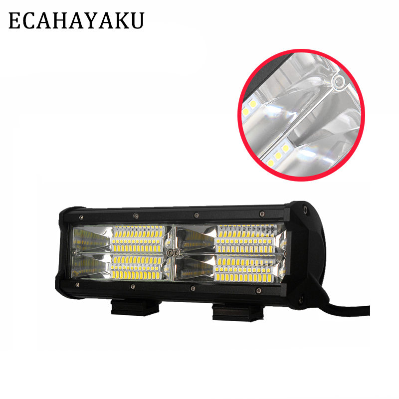 ECAHAYAKU Car-styling Dual Row 9inch Driving Work Light Bar 144W Flood Beam 12V 24V IP68 LED Light Bar For Offroad 4X4 Truck SUV