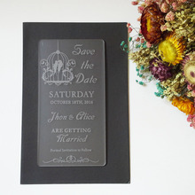 Customized 100*180mm Laser cut Wedding Invitation Engraved frosted Acrylic wedding Save the Date cards (1lot=100pcs)
