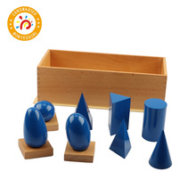 Motessori Material Wooden Toy Premium Quality Geometric Solids with Stands Base Box Children