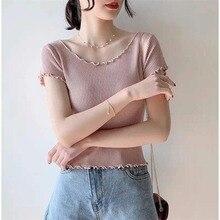 Fashion Ruffles O Neck Short Sleeve T Shirt Female Sexy Slim  Knitted Crop Top Women Korean Solid Casual Summer T-Shirt