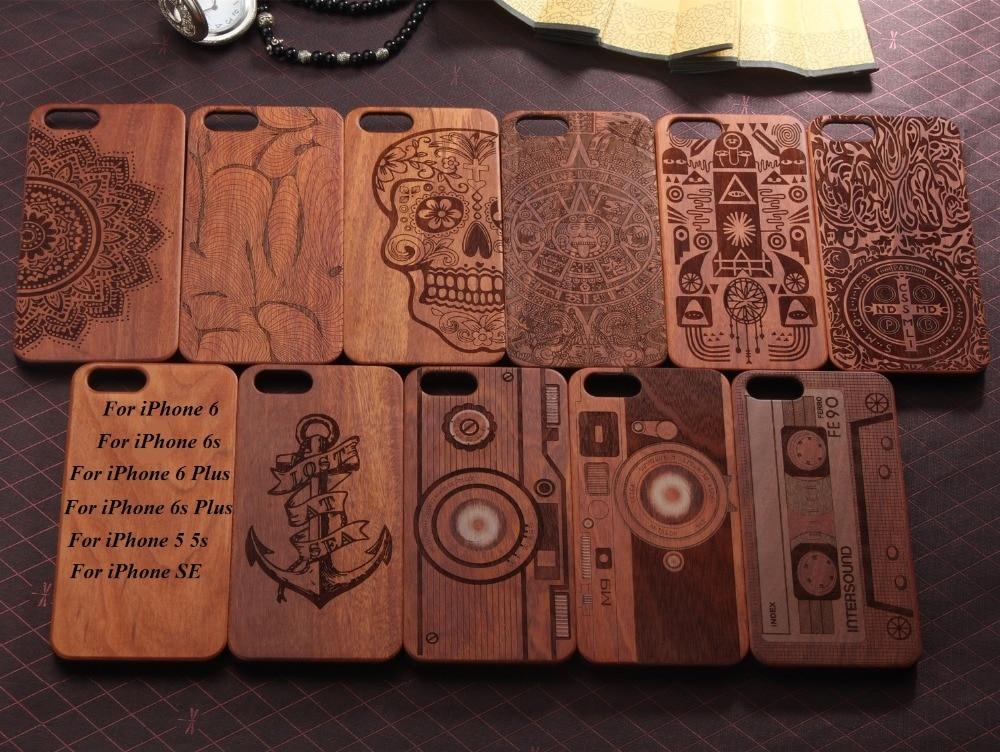 imágenes para Laser Que Talla 100% Verde Natural De Madera de madera Real + PC Cubierta de la Caja De Plástico bolsa de cáscara del teléfono de la piel para iphone 7 6 6 s más 5 5S sí