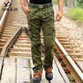 Hombres libres del envío de los pantalones Masculinos múltiples bolsillos overol pantalones masculinos pantalones militares ocasionales flojos de algodón mercerizado promoción