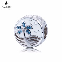 Tropical coast 925 Sterling Silver Tropical Fish And Water plants tailBeads Charms Fit Bracelets DDBJ226