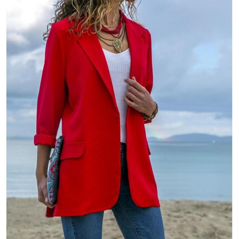 Women Suit Jacket  Slim Blazers Work Office Lady Suit Black None Button Business Notched Blazer Coat