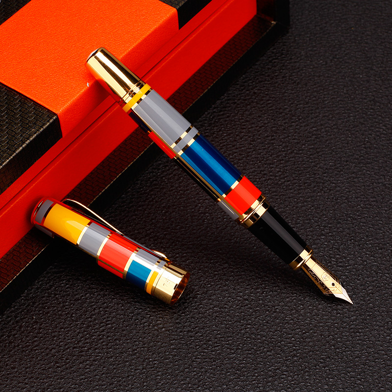 Color mosaic illustration Iraurita Fountain Pen Full metal Golden Clip luxury ink pens Caneta Stationery Office supplies 1014 цена