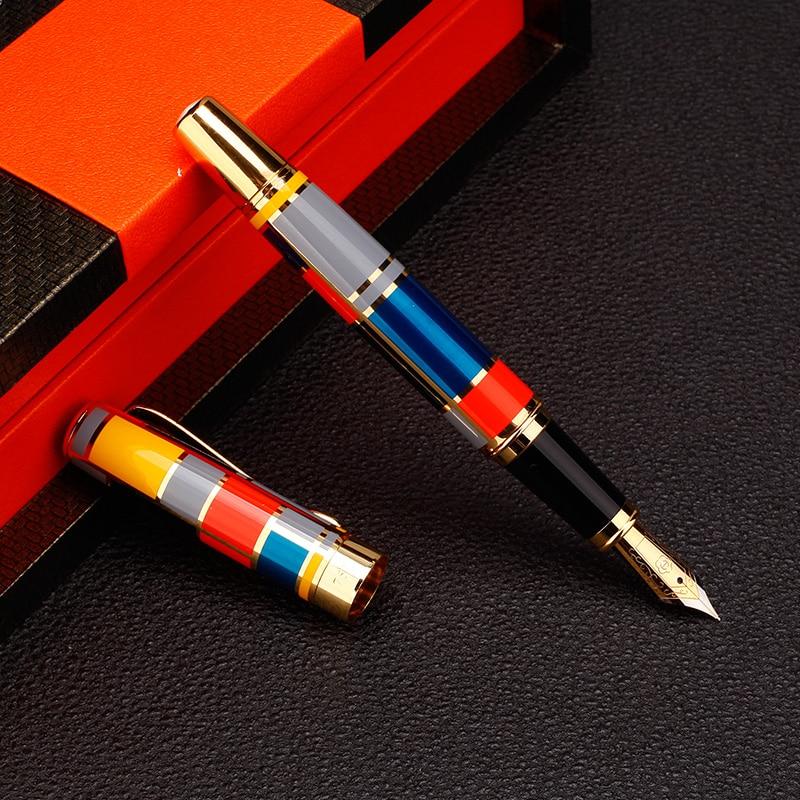 Mosaico di colore illustrazione Iraurita Stilografica Penna Full metal Clip Dorata di lusso penne a inchiostro Caneta forniture Per Ufficio di Cancelleria 1014