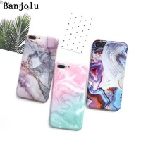 Banjolu Glossy Pink White Marble Granite Pattern Phone Cases For IPhone 7 7 Plus 6 6s