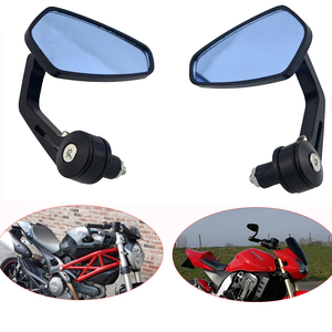 "Motorcycle Handle Bar End Mirror 7/8"" 22 mm Side Rearview Mirrors Custom Smoke Blue Lens For Ducati BMW Honda Suzuki Kawasaki(China)"