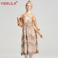 YIGELILA 2018 Latest Autumn Women Vintage O neck Full Sleeve Hollow Out Empire Slim Midi Length Mesh Embroidery Dress 63005