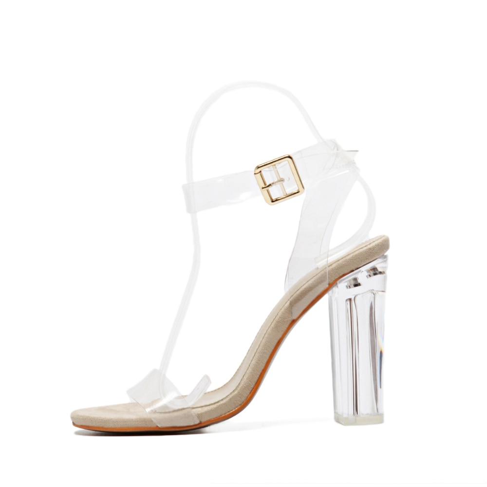 Sapatos Beige Pvc Tobillo Nueva Correa Fiesta Sandalias Tacones Mujeres Zapatos Altos 2017 Marca Bombas Transparente Sexy qEZq6d0x