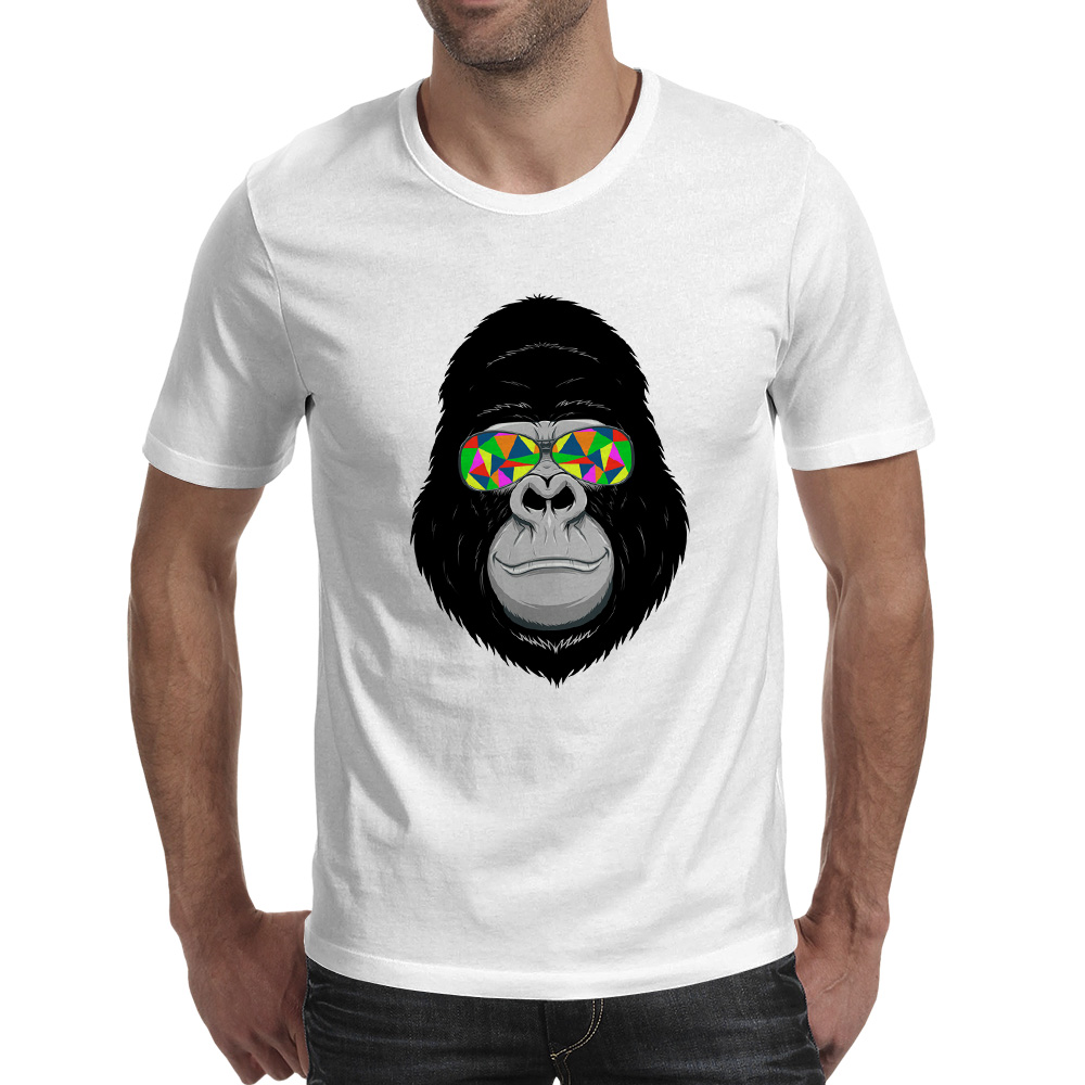 Mens sunglasses large head - Gorilla Big Head With Colorful Sunglasses T Shirt Design Novelty Chimp Monkey T Shirt Fashion Cool Tshirt Men Women Printed Tee