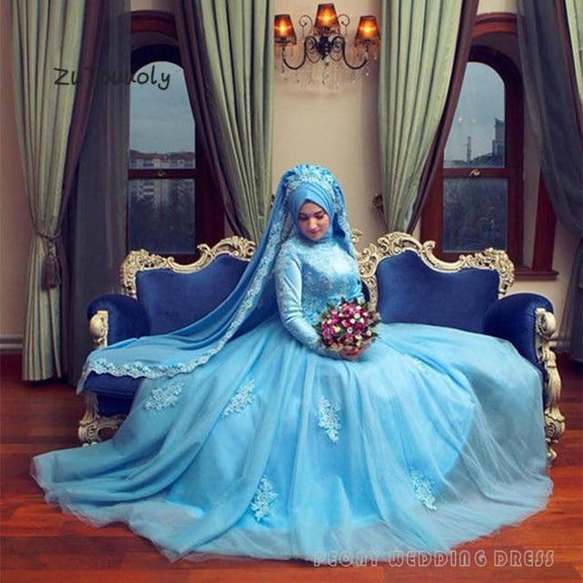 Truyền thống Hồi Giáo Màu Xanh Wedding Dress Abayas Dài Tay Áo A Line Appliques Tulle Giáo Bridal Gowns Vận Chuyển Miễn Phí Giá Rẻ Wedding