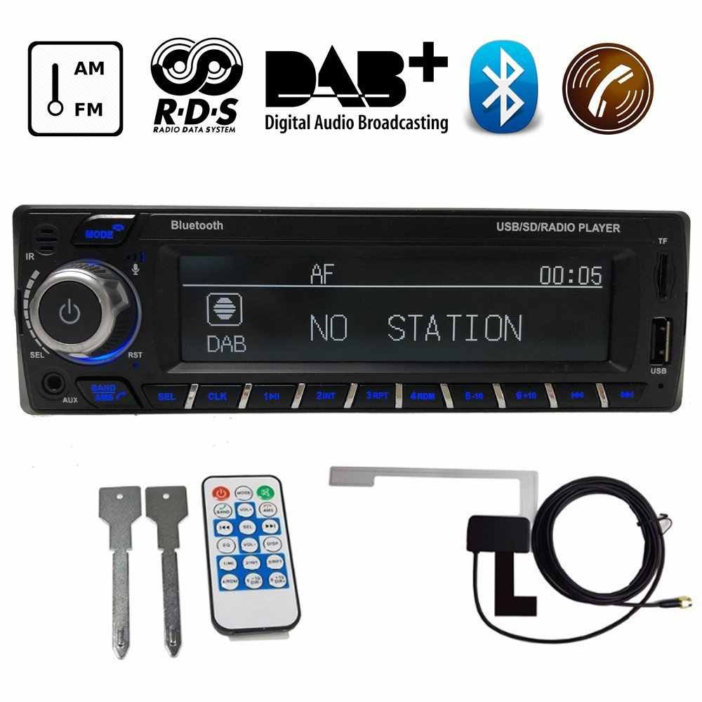 12V Bluetooth Autoradio DAB+ Receiver 1 Din Car Radio Stereo Support AM FM RDS USB SD with DAB Antenna