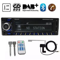 12V Bluetooth Autoradio DAB+ Receiver 1 Din Car Radio Stereo Support AM FM RDS USB SD with DAB Antenna