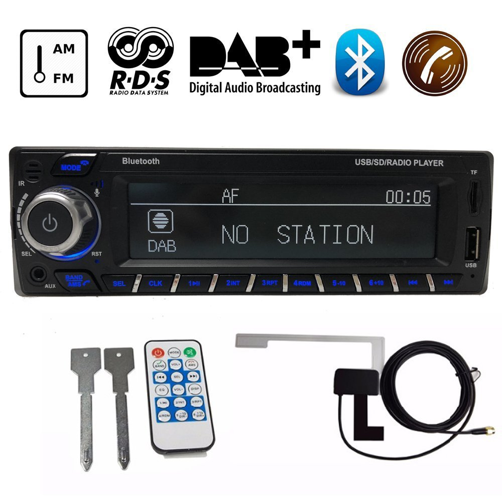 цена на AZGIANT Car Mp3 Radio Hand-free call Receiver Stereo Autoradio Music Playing Support AM FM RDS Bluetooth USB SD with DAB Antenna