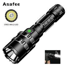 Linterna táctica LED Asafee BC02, ultrabrillante, recargable por USB, linterna de caza a prueba de agua, 5 modos por 1*18650