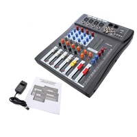 Professional Karaoke system 4 Channel Digital Sound DJ Mixer Audio Mixing Microphone Amplifier Sound Console Mixer 110 220V