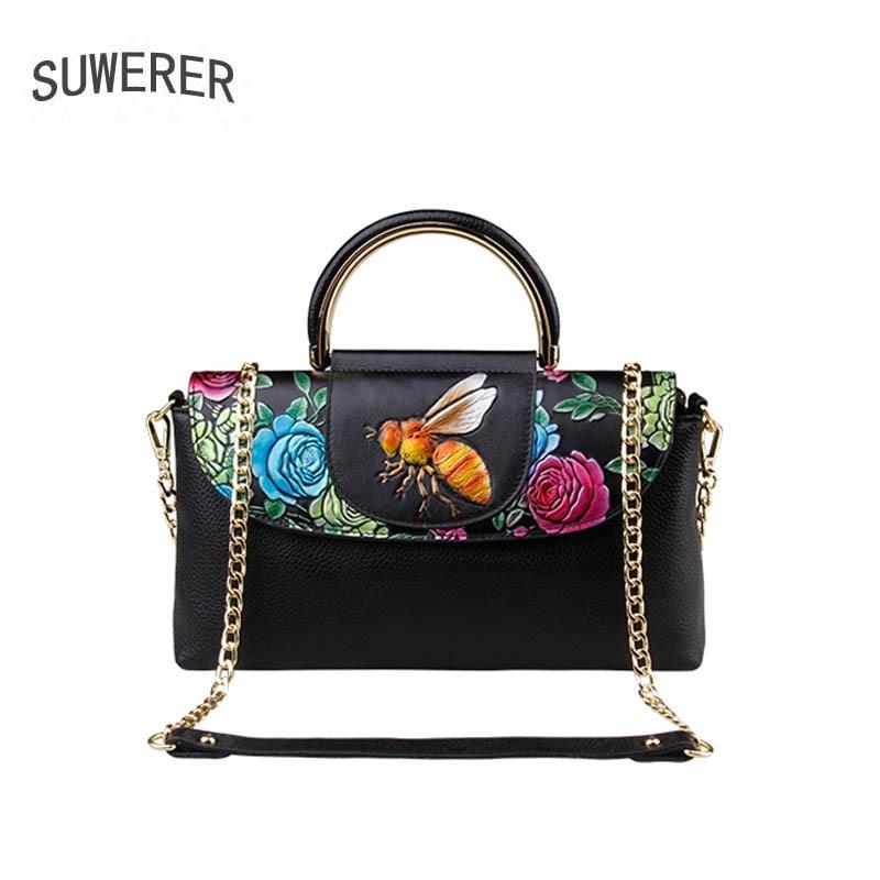 Здесь продается  SUWERER 2018 New Genuine Leather women bag famous brand luxury fashion Embossing handbags women bag designer leather chains bags  Камера и Сумки