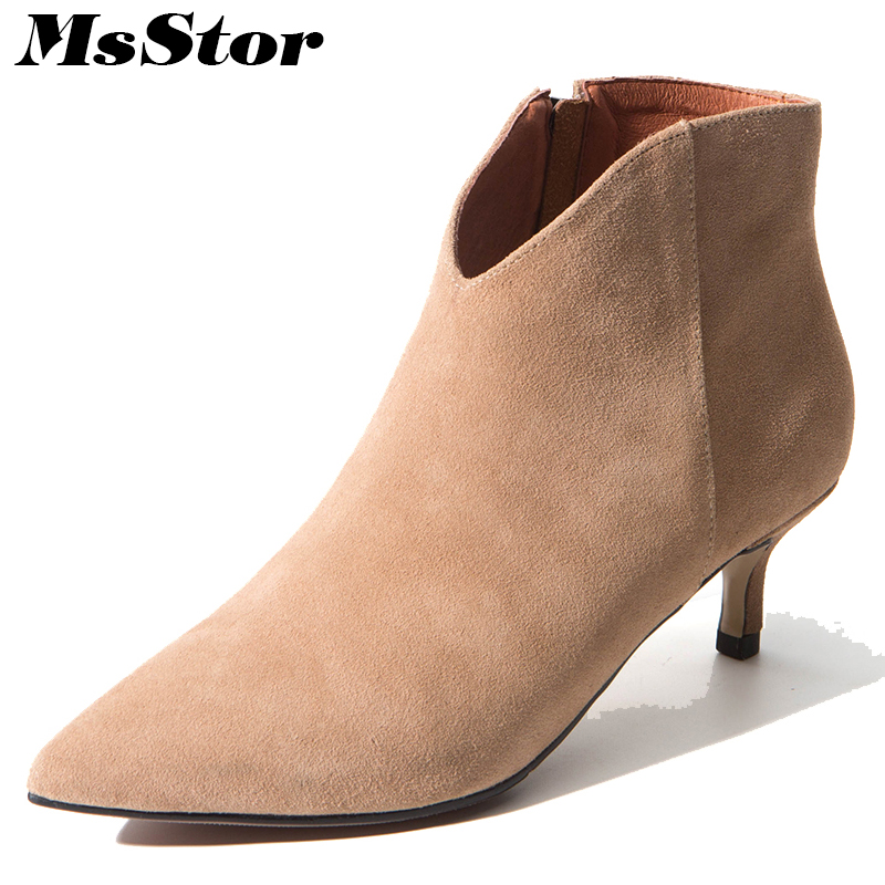 MsStor Pointed Toe High Heel Boots Shoes Woman Casual Fashion Zipper Sexy Ankle Boots Women Shoes Elegant Thin Heel Boots Women ultra thin heels boots sexy peep toe women s shoes 15cm fashion magazine boots black fetish high heel shoes 6 inch ankle boots
