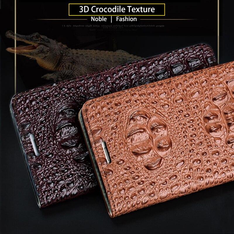 Marca do crocodilo padrão de volta caso de telefone Para Huawei P20 lite Genuine leather flip phone case caso de telefone fivela Magnética - 3