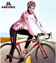 BATFOX 2017 Cycling jersey long sleeved winter thermal fleece Women Cycling set Sports suit Bicycle Bike