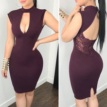 2019 Summer Sexy Dress Women Plus Size Bandage Slim Backless Lace Patchwork Ladies Party Hollow Out Dresses Female Vestidos Red