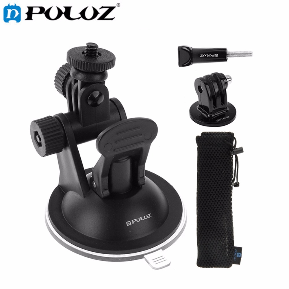 Car Windshield Suction Cup Mount Holder W/ Screw & Mount Adapter & Storage Bag for GoPro HERO5 / HERO4 Session / HERO 5 / 4 /3+ smj g 101 adhesive mounts assemble plug mount adapter w screw for gopro hero 4 2 3 sj4000