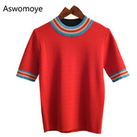 2018 New Fashion Spring Summer Women Short Sleeve T shirt Striped O neck Knitted Pullovers Female Tunic Tops Thin Shirts