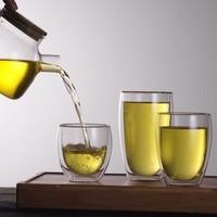250ml 350ml 450ml Double Layer Wall Clear Glass Tea Cup Bamboo Lid Set Glass Coffee Tea