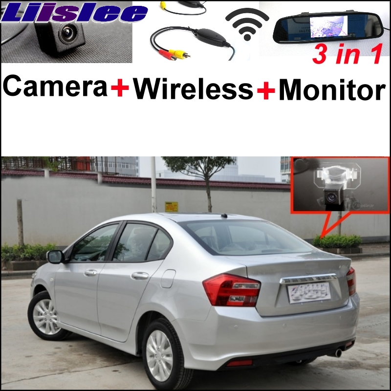 Liislee Special Rear View Camera + Wireless Receiver + Mirror Monitor  Easy Backup Parking System For HONDA City MK5 2007~2013 3 in1 special rear view camera wireless receiver mirror monitor parking system for ford ecosport 2013 2015