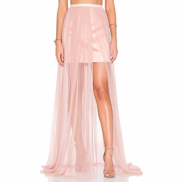 f7142fc34ee0d1 Sexy 1 Layer Tulle Long Skirt Sheer Pink Mesh See Through Maxi Skirt with Short  Lining 2017 Summer Style Fashion Saia Longa