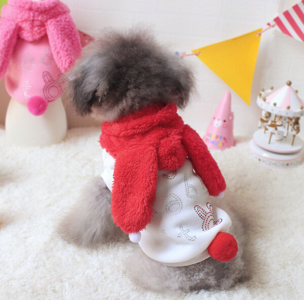 New arrival dogs cats cute Long-eared bunny hoodies clothing doggy warm soft sweatershirts apparel puppy jackets pets suit 1pcs