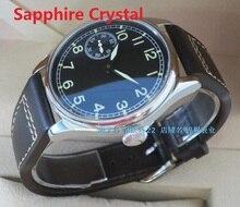 Sapphire Crystal 44mm PARNIS black dial Asian 6497Mechanical Hand Wind movement Luminous men's watch Mechanical watches 161