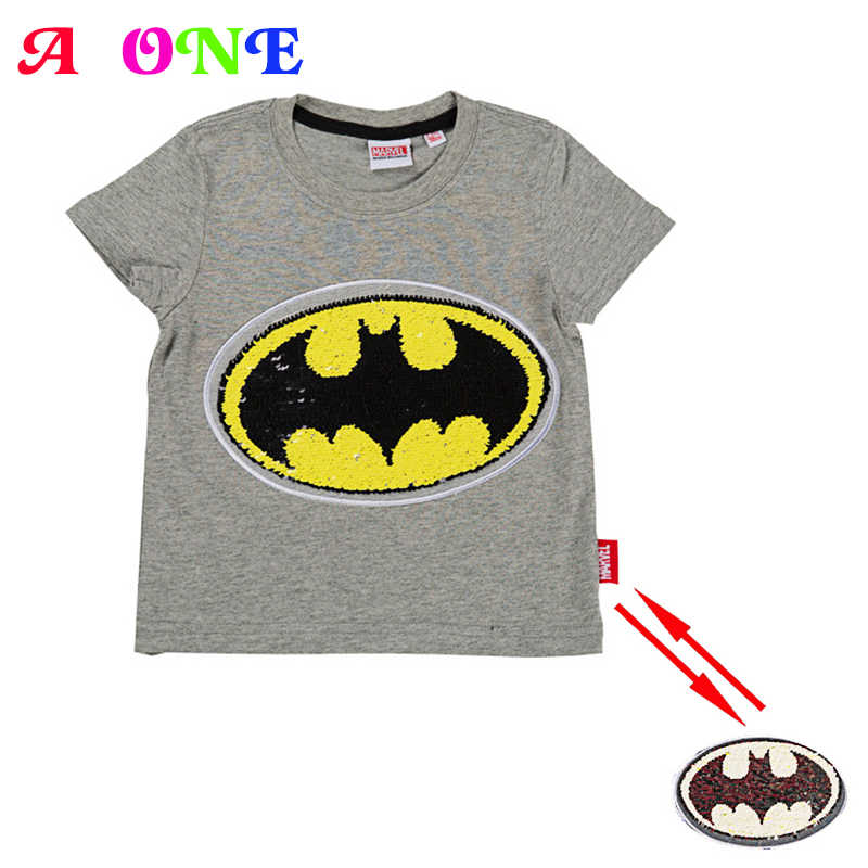 8035eabc9 Summer cotton fashion spiderman batman super hero magic switchable sequin  boys tee shirt kid t shirt