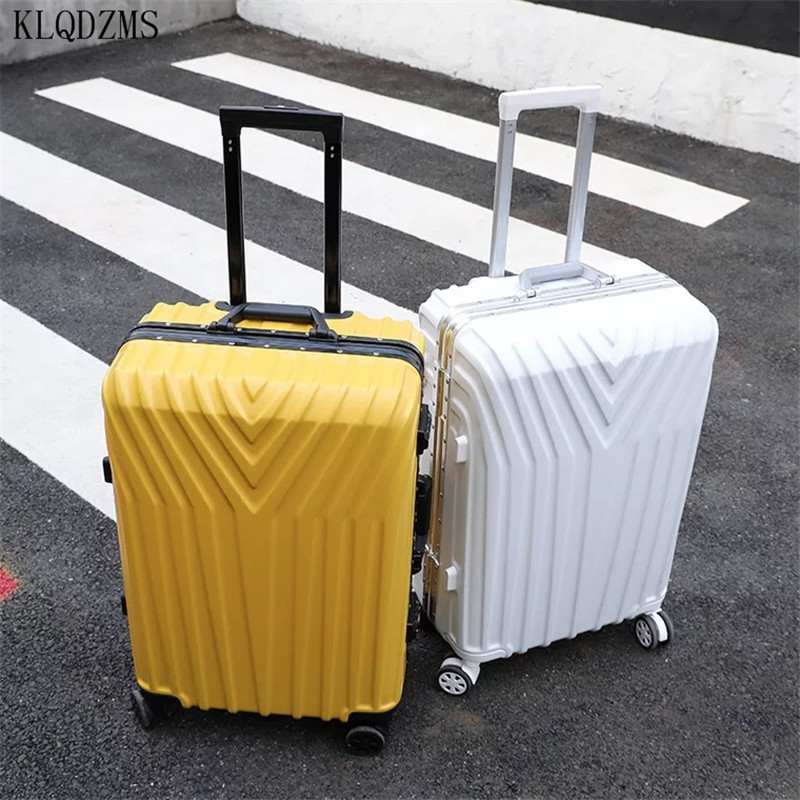 KLQDZMS 20/22/24/26/29inch Aluminum Frame/zipper Style Travel Suitcase ABS+PC Rolling Luggage Spinner Trolley Bags With Wheels