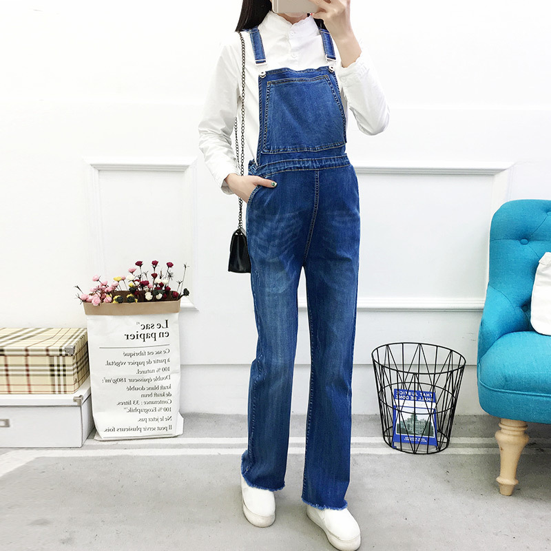 Pregnant Womens Loose Denim Pants Maternity Spring And Autumn Rompers Jumpsuit Mothers Clothes Pregnancy Jeans Trousers Bodysuit free shipping 2018 jeans fashion plus size 24 30 pants for tall women high quality overalls jumpsuit and rompers denim trousers