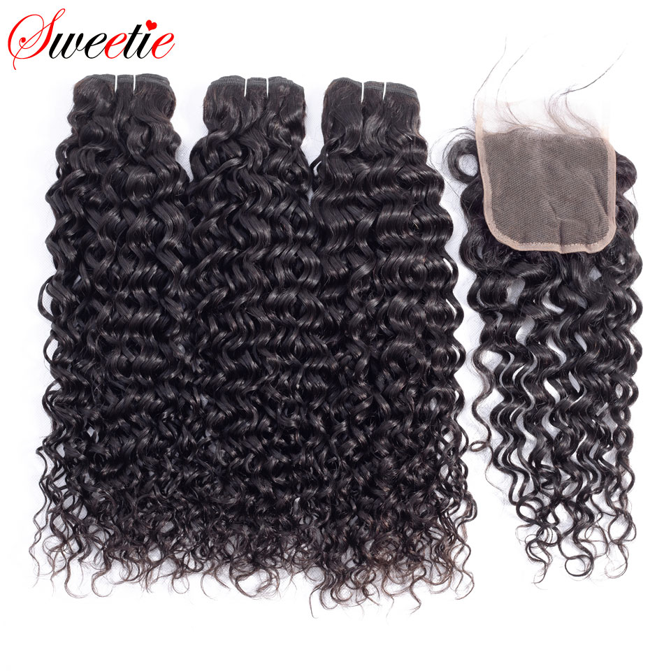 Sweetie Water Wave Bundles 3 Bundles With Lace Closure 100 Indian Hair Weave More Wavy Non