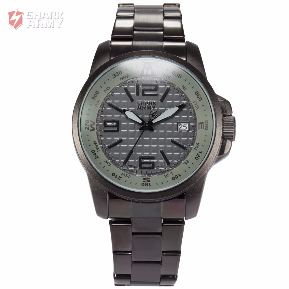 Shark Army Brand Analog Quartz Clock Full Casual Steel Band Homme Military Outdoor Sport Men Boy Relogio Watch Box /SAW136 hot sale fashion pilot aviator military army style dial scrub leather band quartz analog casual outdoor sport watch for men