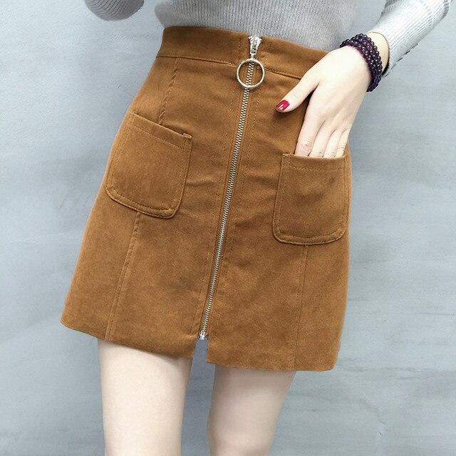 143c14be20fd3a Vrouwen Mini Rits Rok Klassieke Vintage All Lederen Suede Rokken Mode  Herfst Winter Hoge Taille A