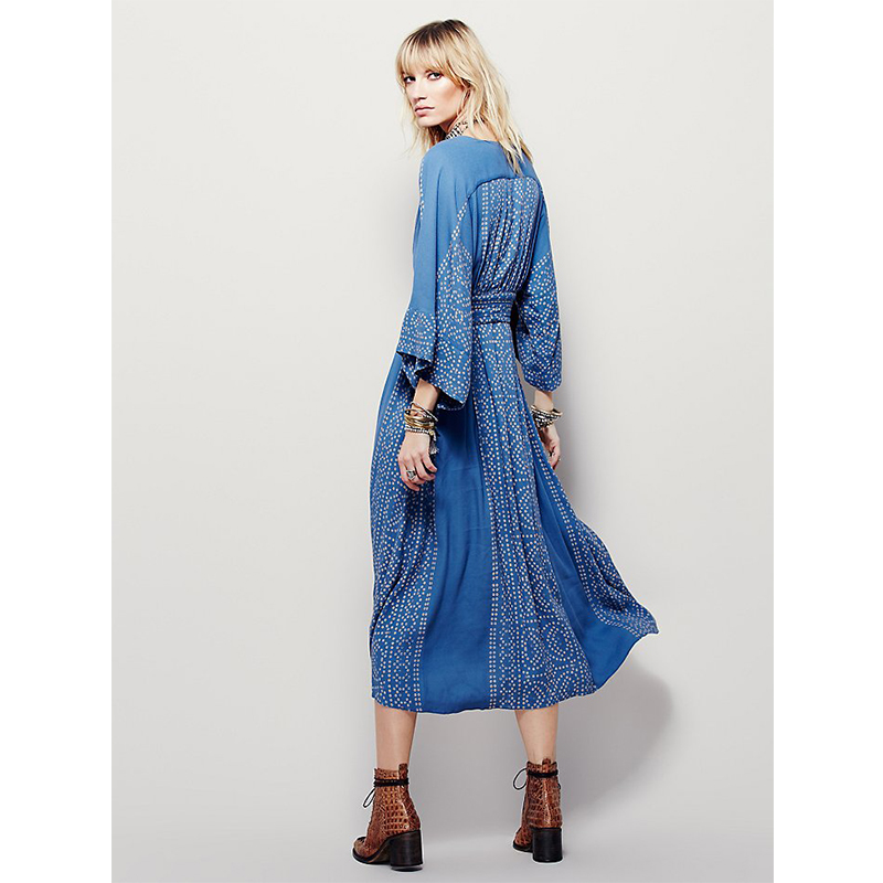 bfab5763d370 Booyi Maxi dress women dress bohemian floral print dot cotton V-neck 2017  Boho Dress hippie chic women clothing 2017 new S-XL 317.2 ₪