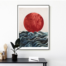 Geometric abstract nature sea mountains waves sunrise sunset uique design modern canvas oil printing best home wall decor poster
