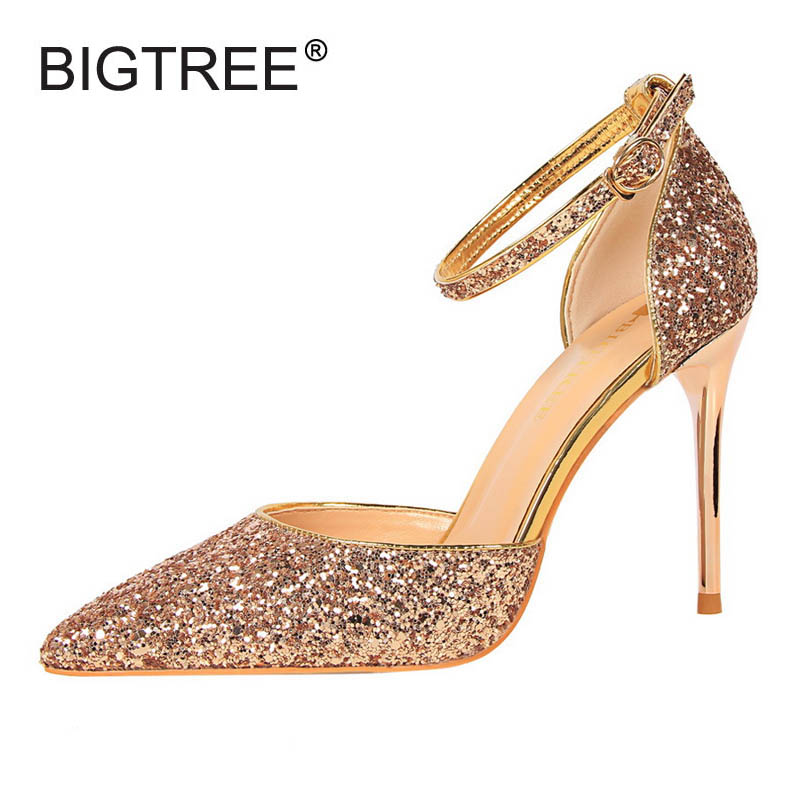 Luxury Glitter Sandals Ankle Strap Women Pumps 2017 Summer Style Thin High Heels Women Wedding Shoes Ladies Evening Party Shoes cootelili real fur ankle strap gladiator sandals women flats 2017 summer tassel shoes ladies wedding beach sandals bohemian