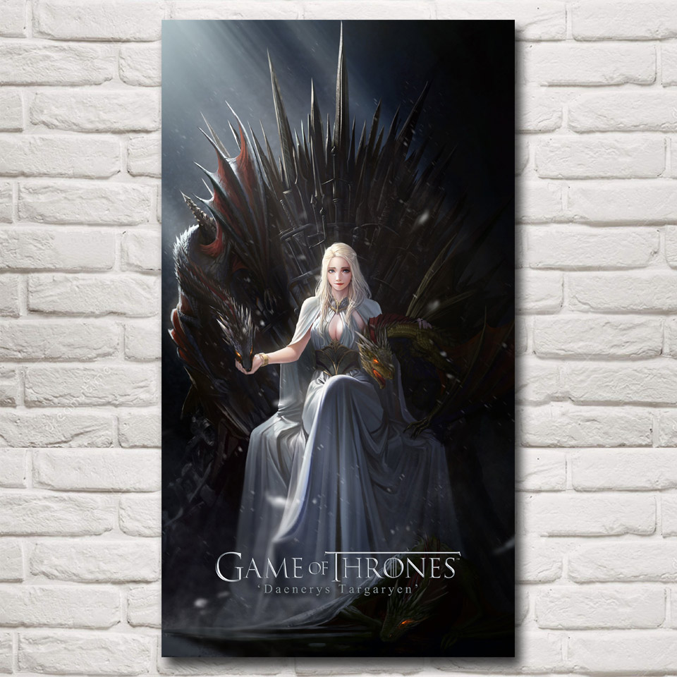 Game of Thrones Hot TV Series Daenerys Targaryen Art Silk Poster 11x20 16x29 20x36 30x54 Inch Home Decor Pictures Free Shipping