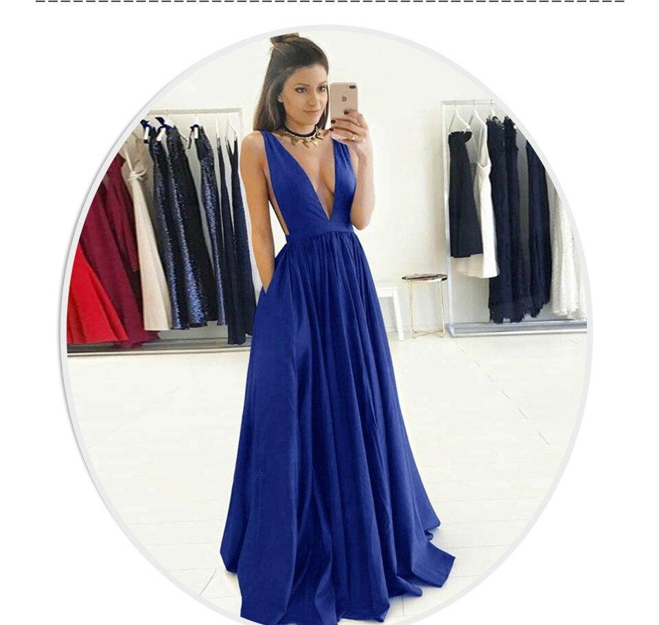 Long Navy Blue   Evening     Dresses   2019 Simple   Evening     Dress   Women Formal   Evening     Dresses   Plus Prom Party   Dress   vestidos de festa